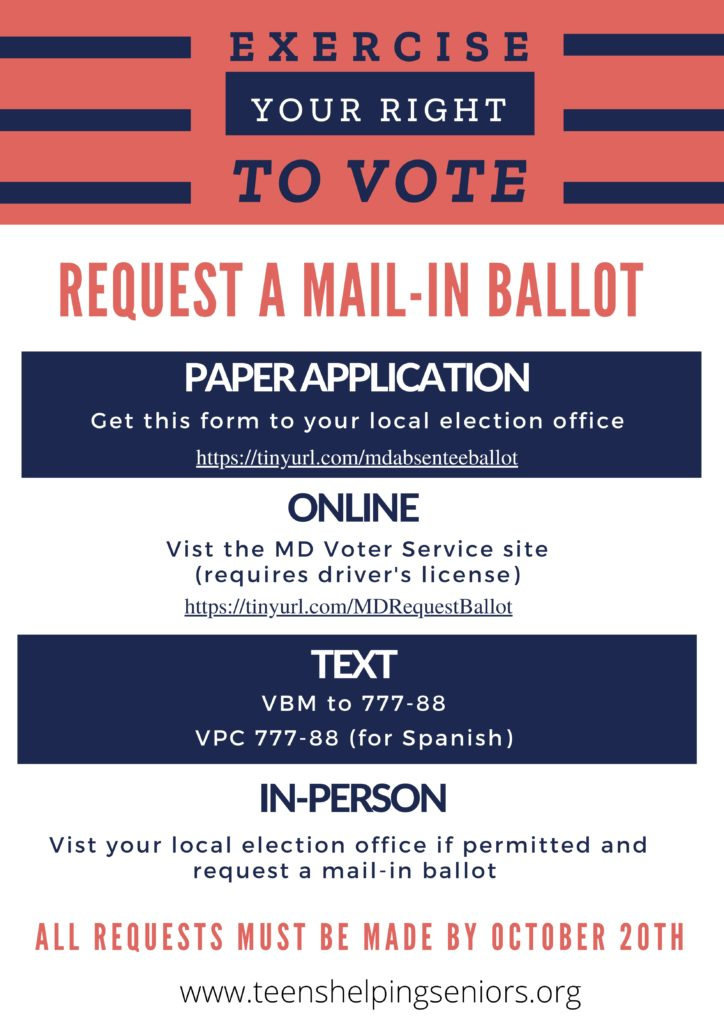 pamphlet informing voters about requesting mail-in ballots for 2020 elections using paper application, online, text, or in-person for Maryland